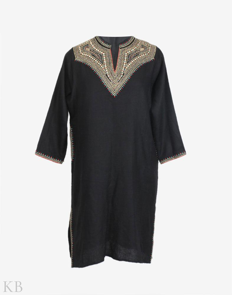 Black Zari Embroidered Woolen Phiran