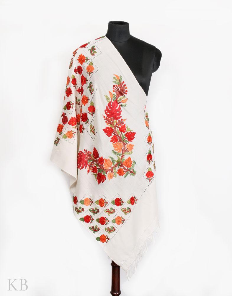 Chinar White Aari Embroidered Woolen Stole