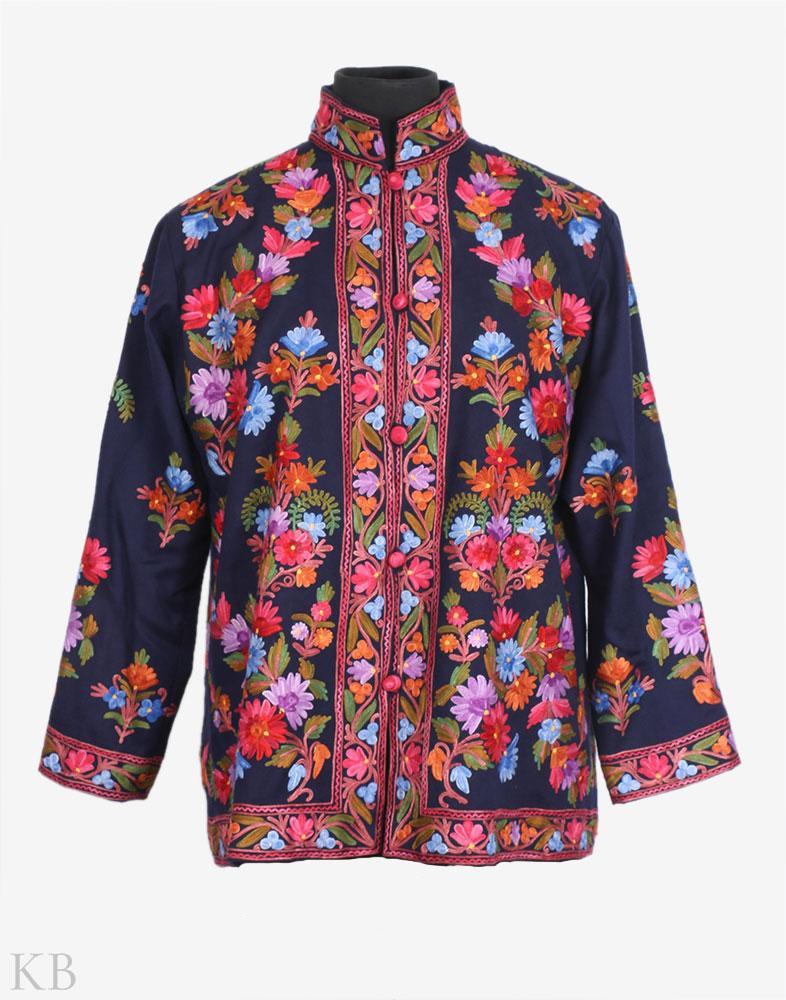 Denim Blue Aari Embroidered Woolen Jacket