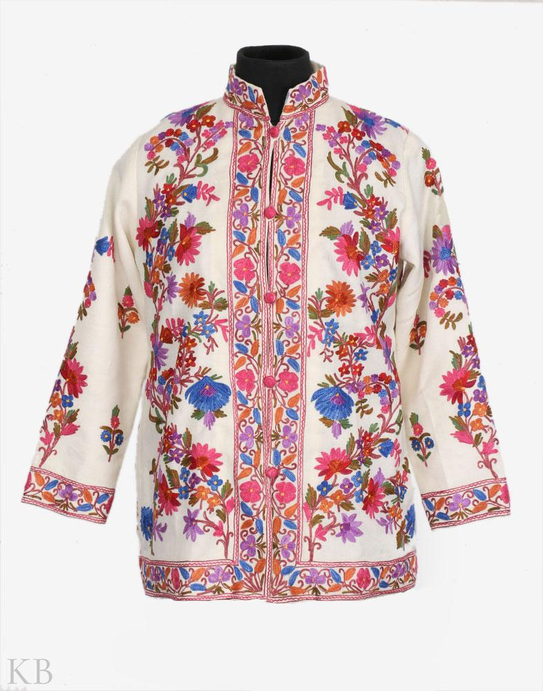 White Kaleidoscopic Flowers Woolen Jacket